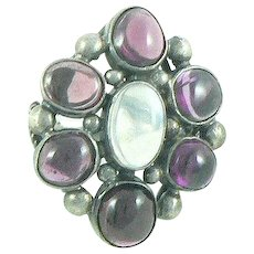 Garnet Moonstone Arts & Crafts Sterling Silver Cocktail Ring