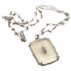 Art Deco Camphor Glass Sterling Silver Necklace with Original Chain Plainville Stock Co.