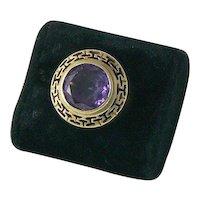 Sophisticated 18K Sapphire Ring Greek Key Motif