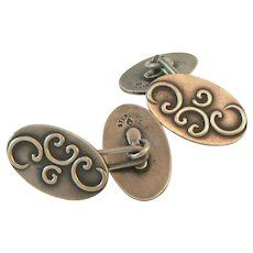 Art Nouveau Sterling Silver Cufflinks by Eckfeldt & Ackley
