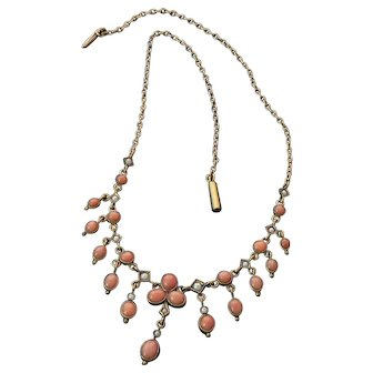 Edwardian Coral and Seed Pearl Gold Filled Necklace