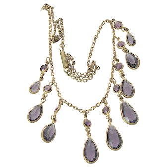 Edwardian Gold Filled Amethyst Glass Negligee Necklace