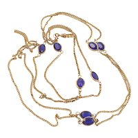 Edwardian Gold Filled Long Guard Chain Muff Chain with Blue Glass Stones