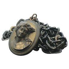 Antique Vulcanite Cameo Necklace