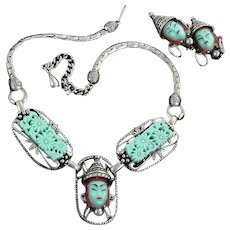 Selro Asian Princess Turquoise Demi Parure Necklace Earrings
