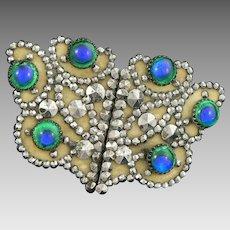 Peacock's Eye Cut Steel Belt Buckle Victorian