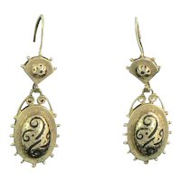 Victorian Revival 14K Gold Enamel Earrings
