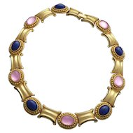 Elegant Golden Costume Collar Necklace Pink and Lapis Glass