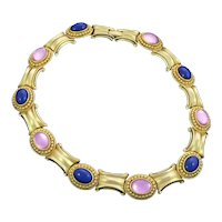 Costume Collar Necklace Lapis and Pink Glass 1980s