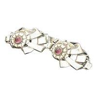 Sterling Silver Retro Medallion Ribbon Bracelet  Purple Glass Stones
