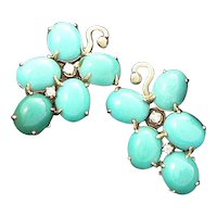 Persian Turquoise Earring 14K with Diamonds
