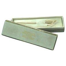 14K Gold Wishbone Stick Pin in Old Tiffany Box