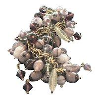 Venetian Glass Bead Charm Bracelet with 80 Plus Beads