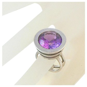 Danish Modernist Space Age Sterling Silver Ring with Lab Created Alexandrite