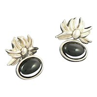 Tiffany Sterling Silver and Onyx Earrings 1986