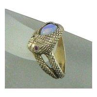 14K Gold Snake Ring Opal Rubies 1960