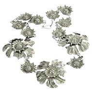 Mexican Sterling Silver Flower Necklace Retro 1940s