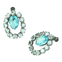 Sparkling Sterling Silver Blue Topaz Glass and Paste Earrings Retro