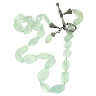 Natural Aquamarine Faceted Silver Vintage Necklace