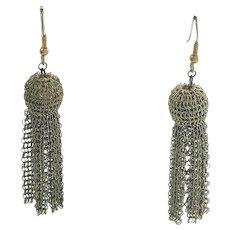 Tassel Earrings Gold Tone Fine Wire Mesh