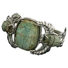 Egyptian Revival Winged Scarab Sterling Silver Cuff Bracelet