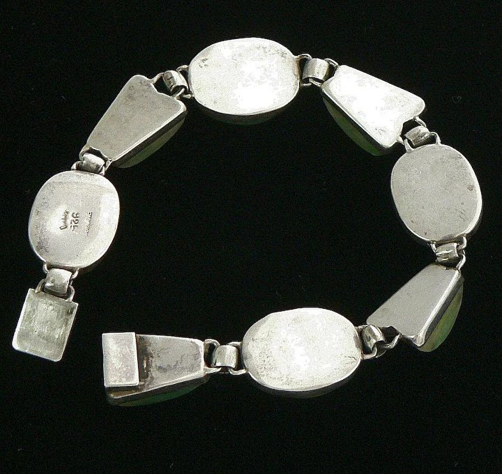 Mexican Sterling Silver Necklace And Bracelet Set Palacios Dyed Green Calcite