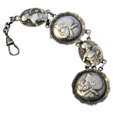 Warrior Watch Fob Medallion Chain Pendant Sterling Silver Signed
