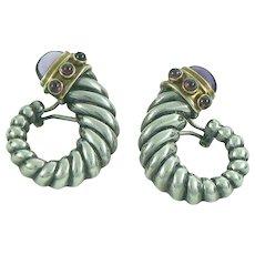 David Yurman Sterling Gold Amethyst Garnet Cornucopia Earrings