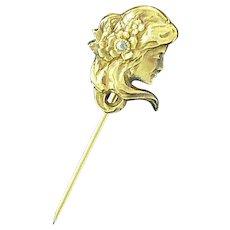 Beautiful Art Nouveau 10K Figural Stick Pin with Diamond