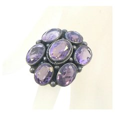 Amethyst Sterling Silver Giant Arts & Crafts Ring