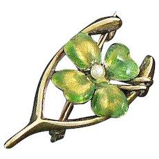 14K Gold Enamel Four-Leaf Clover Wishbone Pearl Pin