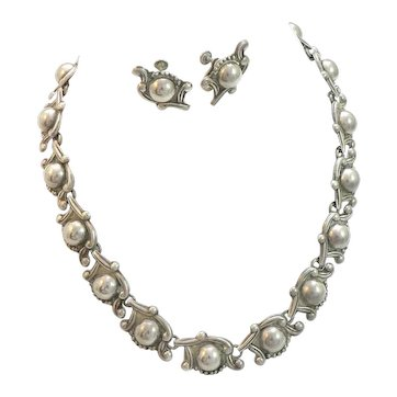 Mexican Necklace and Earrings Set 950 Silver 1940s Signed
