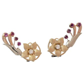 Tricolor 14K Gold Floral Earrings with Diamonds and Rubies Retro 1940s