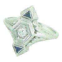 18K Gold Diamond Sapphire Art Deco Ring