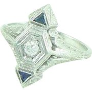 18K Gold Diamond Sapphire Art Deco Ring