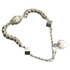 9 Carat Gold Albertina Women's Watch Chain Bracelet with Heart Charm
