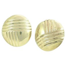 14K Gold Button Earrings