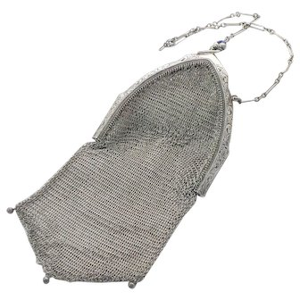 Whiting and Davis Art Deco Sterling Mesh Purse Sapphire Clasp