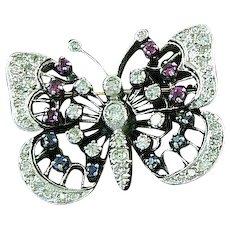 Butterfly Pendant 14K Gold Diamonds, Rubies, Sapphires