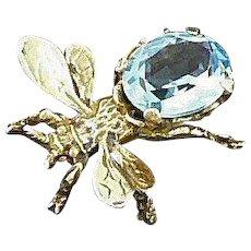 Cini Bug Pin Sterling Gold Vermeil Aqua Glass Stone