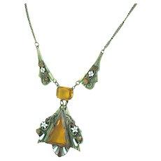 Amber Glass Brass Enamel Czech Necklace