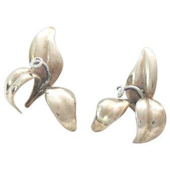 Volmer Bahner Chic Flower Earrings Gold Vermeil and Sterling Silver 1980s Denmark