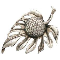 Guglielmo Cini Large Leaf Brooch Sterling Silver Gump's Designed