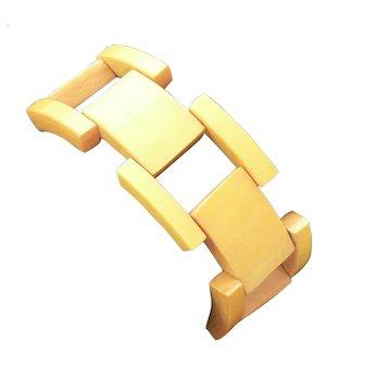 Yellow Bakelite Link Tank Bracelet Art Deco