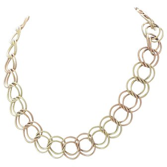 Two-Tone Double Link Optic Gold Filled Necklace