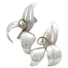 Volmer Bahner Chic Flower Earrings Sterling Silver 1980s Denmark