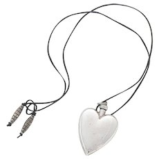 Sterling Silver Perfume Heart Pendant Necklace on Leather Cord