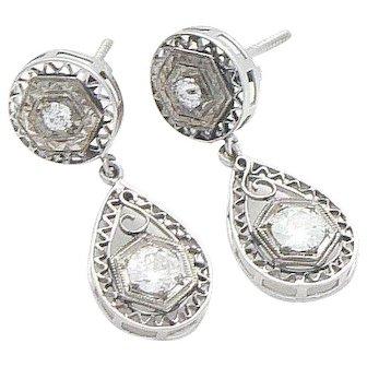 14K White Gold and Diamond Filigree Dangling Earrings