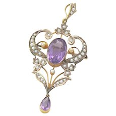 Antique Art Nouveau Lavalier Amethyst Seed Pearls