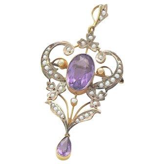 Antique Art Nouveau Lavalier Amethyst Seed Pearls